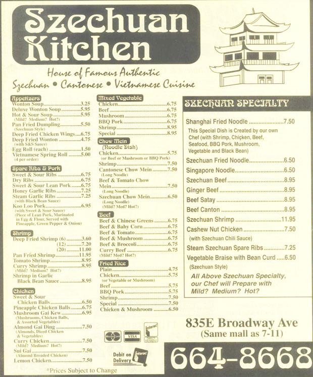 Szechuan Kitchen Menu Saskatoon